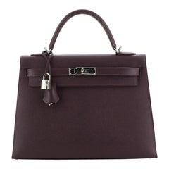 Kelly Handbag Raisin Epsom with Palladium Hardware 32