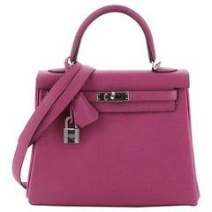 Kelly Handbag Rose Pourpre Togo with Palladium Hardware 25