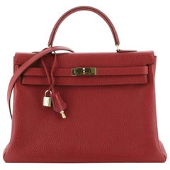 Kelly Handbag Rouge Vif Fjord with Gold Hardware 35
