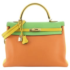 Kelly Handbag Tricolor Clemence with Gold Hardware 35