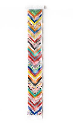 """Standby"", Abstract Colorful, Rainbow, Wall-Hanging Sculpture, Geometric Pattern"