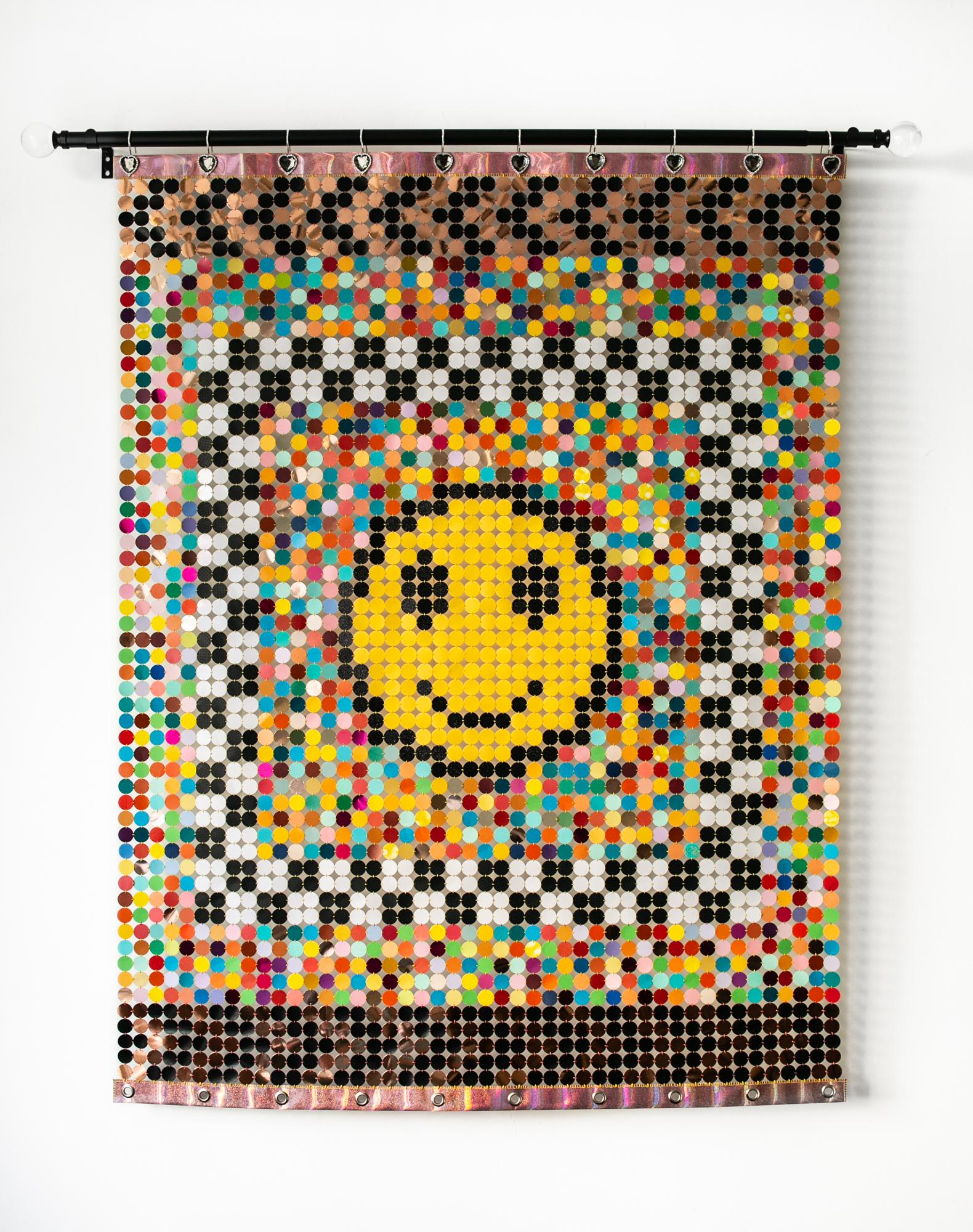 """""""Was Happy Cancelled?"""", Wall-Hanging Sculpture, Rainbow, Bright Colors, Smile"""