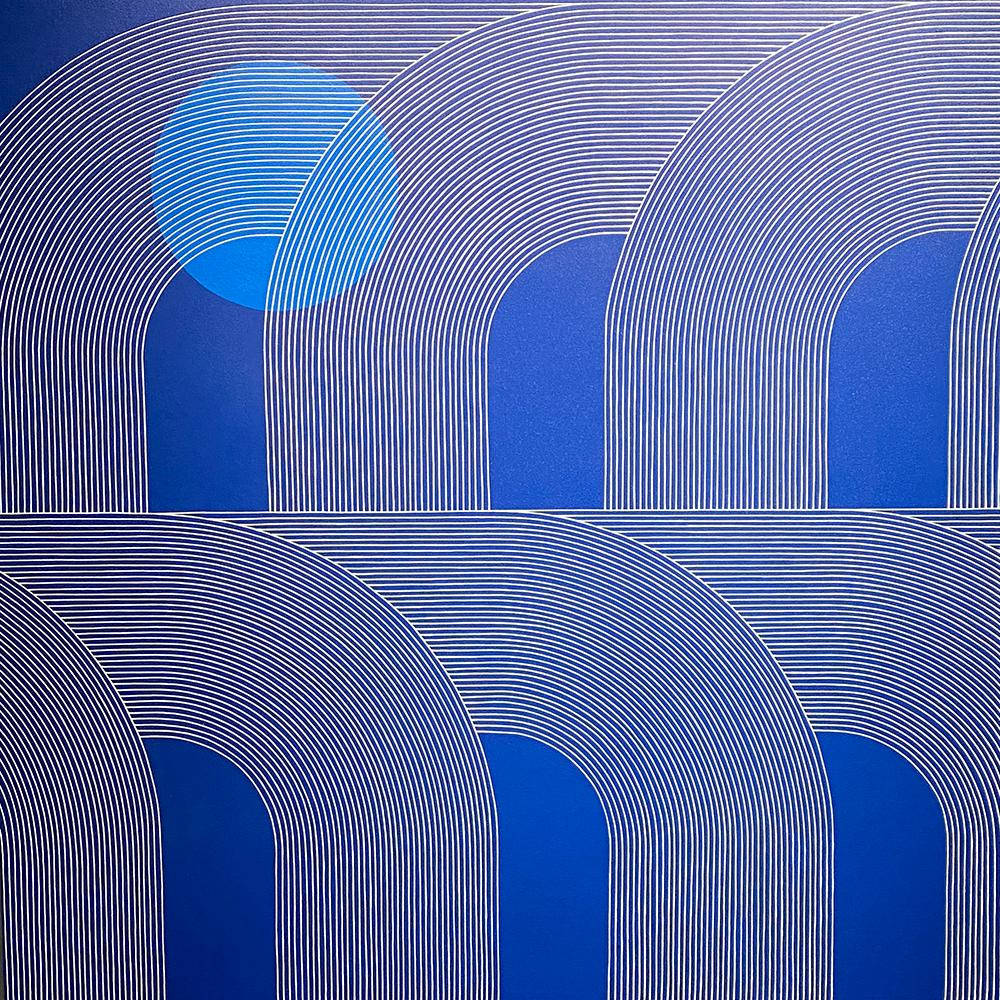Isla- blue abstract painting by Kelly Ording