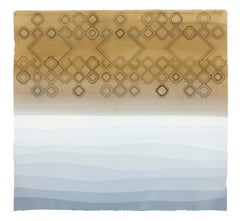 Tule- Bolina -framed abstract geometric dyed paper work in neutral colors
