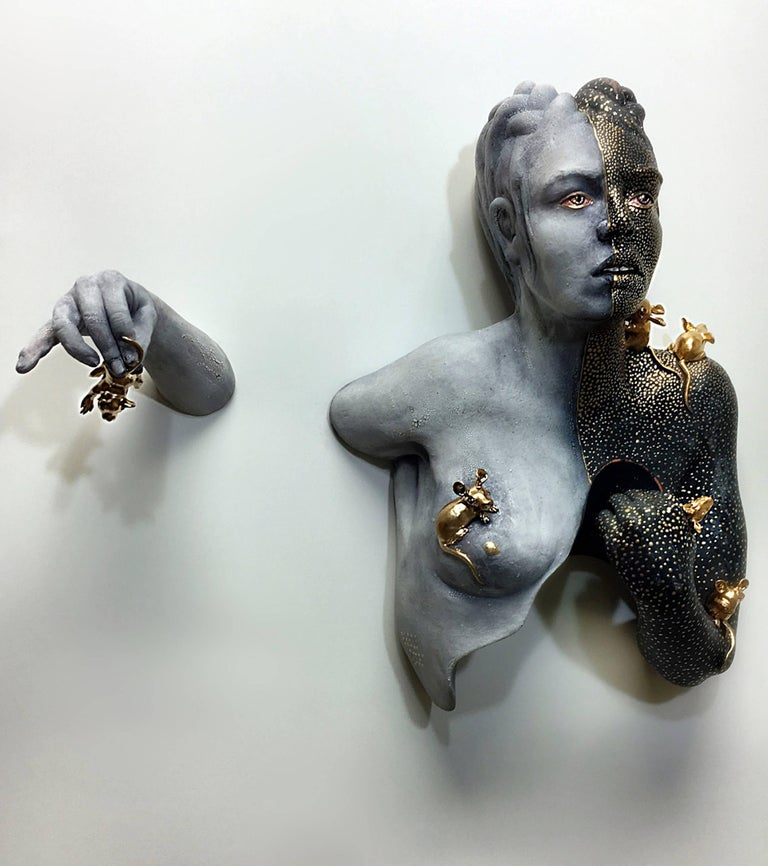 DILEMMA stoneware, gouache, spray paint, gold luster    15 x 15 x 5 in