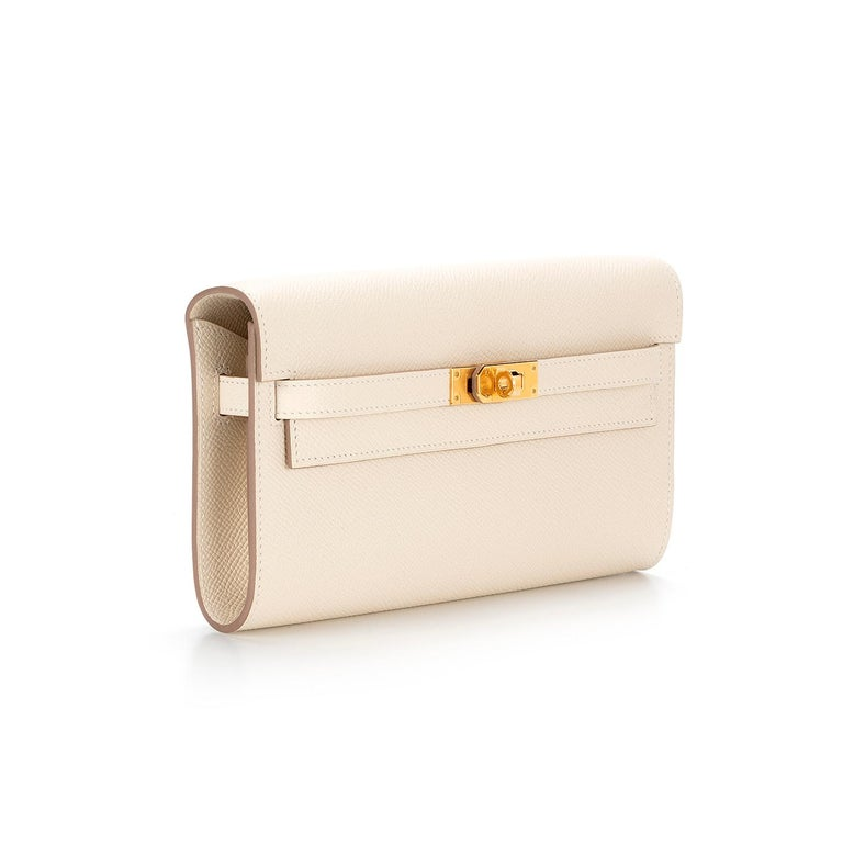The much-anticipated wallet on a chain from Hermès is finally here. The Hermès Kelly To Go Leather Clutch is crafted in France from Epsom leather, favoured for its textured appearance and known for its scratch-resistant qualities. With a matching