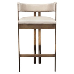 Kelly Wearstler Elliott Bar Stool in Burnished Brass and Ivory Leather