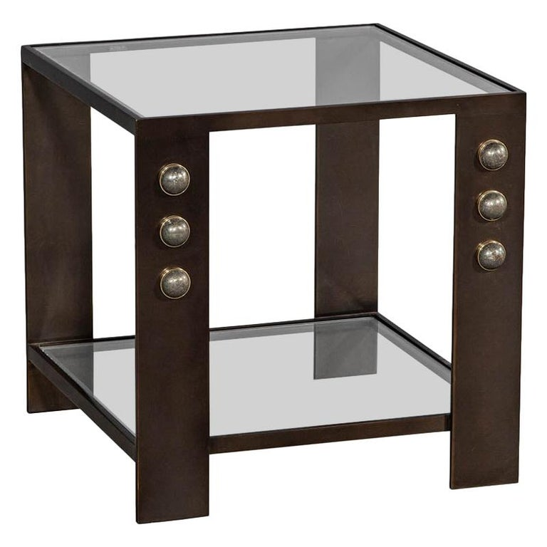 Kelly Wearstler Griffith side table. Blackened bronze frame with half-moon pyrite stones.