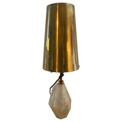 Kelly Wearstler Natural Quartz Stone Table Lamp with Brass Shade