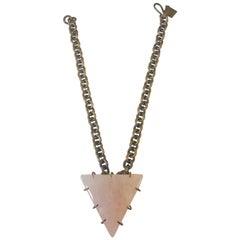 Kelly Wearstler Triangular Pink Quartz w/ Bronze Prongs & Brass Chain Necklace