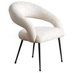 Kelly Wearstler Upholstered Laurel Dining Chair with Oil-Rubbed Brass Legs