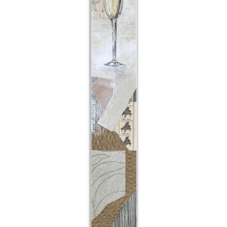 Kelsey Irvin STORYLINE PEARL XIX vintage ephemera, gold leaf, oil, acrylic & graphite on panel, no resin 48.00 X 6.00 in $1,500.00