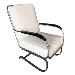 "KEM Weber Chrome Art Deco Armchair ""Springer Chair"" for Lloyd"
