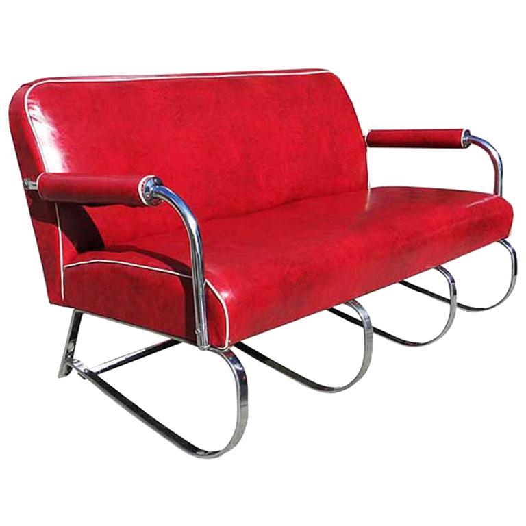 Kem Weber Chrome Tubular Sofa by Lloyd Manufacturing