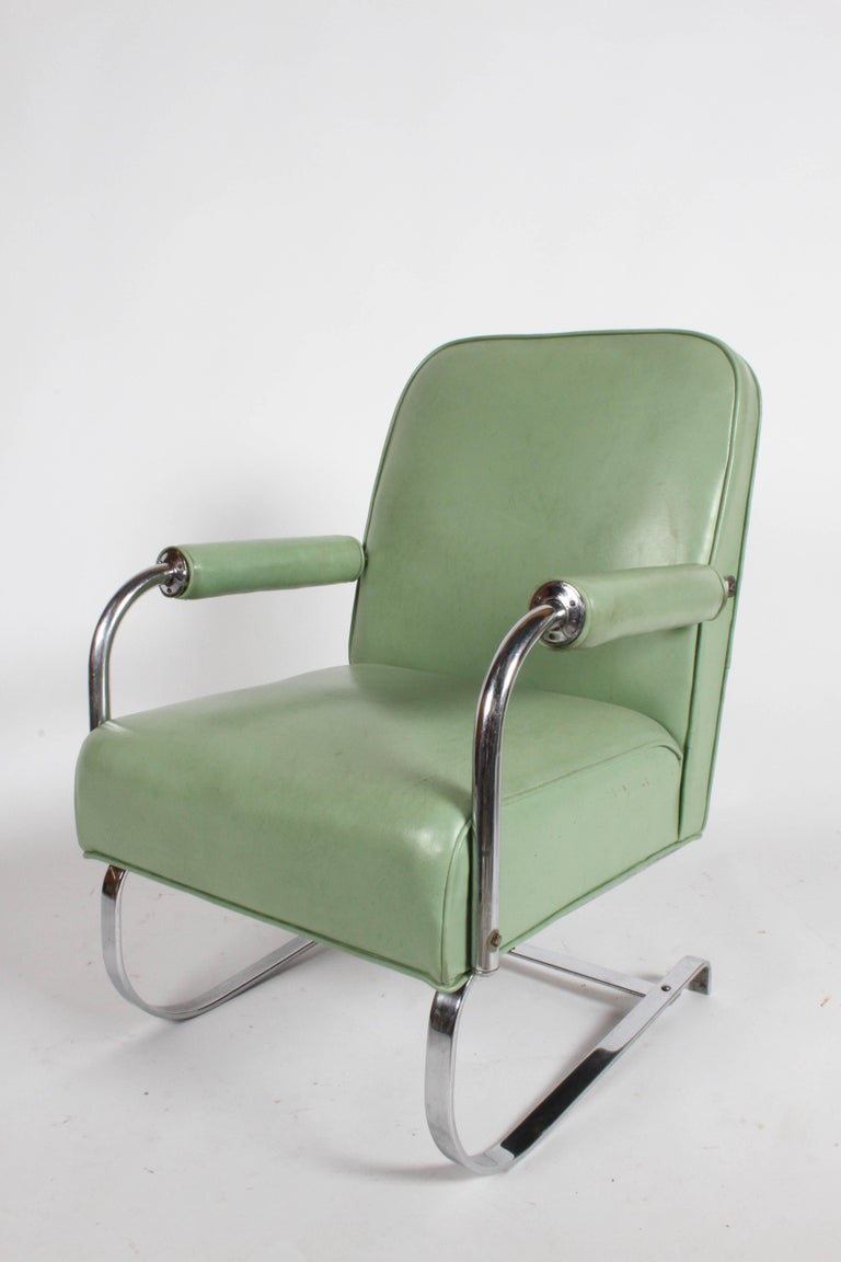 Vintage KEM Weber for Lloyd Art Deco springer lounge chair. Has been reupholstered a while ago, should update if you want it perfect. Original chrome plate, label. Measures: Seat 17.5