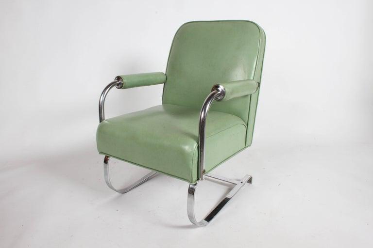 American KEM Weber for Lloyd Art Deco Springer Lounge Chair For Sale