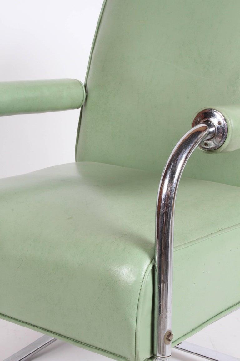 Plated KEM Weber for Lloyd Art Deco Springer Lounge Chair For Sale