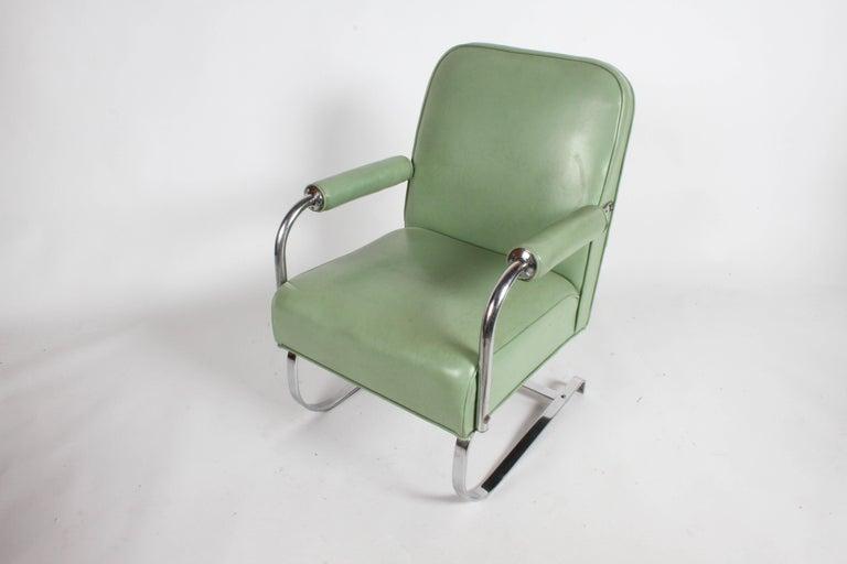 Chrome KEM Weber for Lloyd Art Deco Springer Lounge Chair For Sale