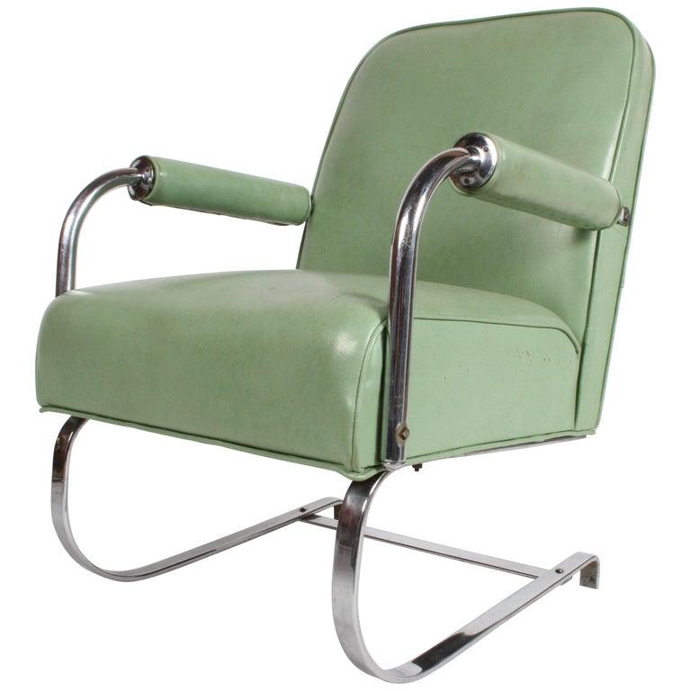 KEM Weber for Lloyd Art Deco Springer Lounge Chair For Sale