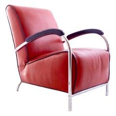 Kem Weber Red Tubular Armchair, Vintage Mid-Century Modern