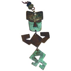 Ken Beldin Figural Kinetic Midcentury Mexican Copper and Mixed Metal Necklace