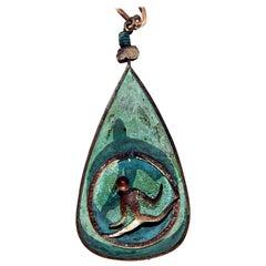 Ken Beldin Figural Pendant, Midcentury, Made in Mexico, Copper