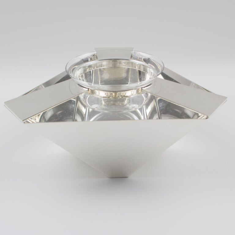 Art Deco Ken Benson for St James Brazil Silver Plate Caviar Serving Bowl Barware For Sale