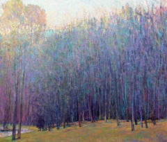 'At the Ponds Edge, Emerging Spring', Large Transitional Landscape Oil Painting