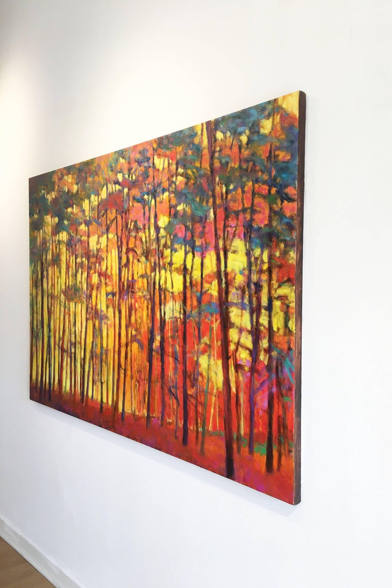 Brightly Lit Woods - Neo-Expressionist Painting by Ken Elliott