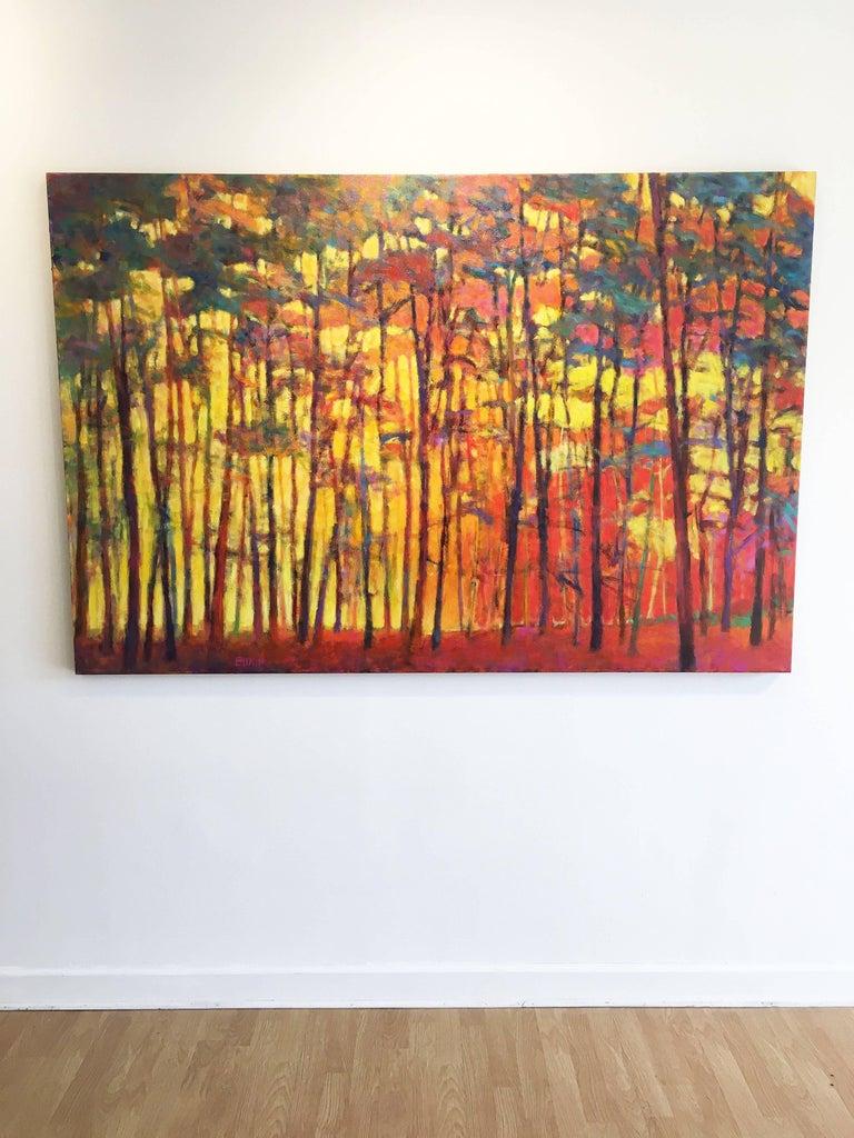 Brightly Lit Woods - Brown Landscape Painting by Ken Elliott