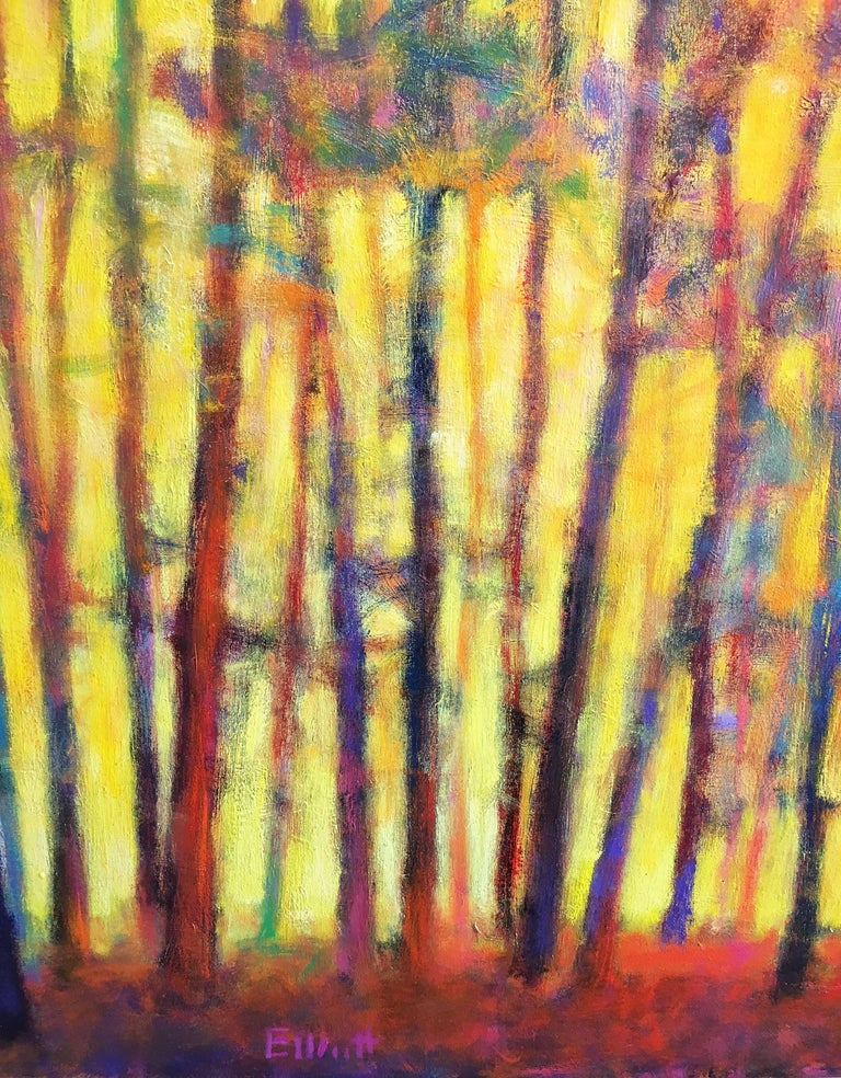 'Brightly Lit Woods' 2015 by American artist, Ken Elliott. Oil on canvas, 48 x 72 in. A dramatic and dynamic expressionistic painting featuring dense woodlands enveloped with sunlight. In high-key colors of yellow and red, this painting is about