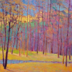 'Forest Colors Arrayed', Large Transitional Colorful Landscape Oil Painting