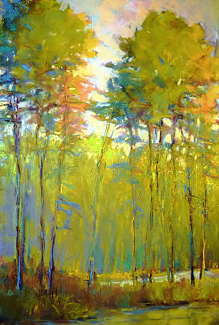 Ken Elliott Abstract Painting - Last Colors - Transitional Landscape Oil Painting, Wolf Kahn influence