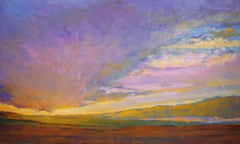 'Light Moving Across', Large Transitional Colorful Landscape Oil Painting