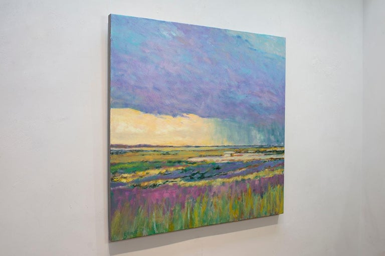 Summer by the Shore - Transitional Landscape Oil Painting, Wolf Kahn influence - Gray Abstract Painting by Ken Elliott