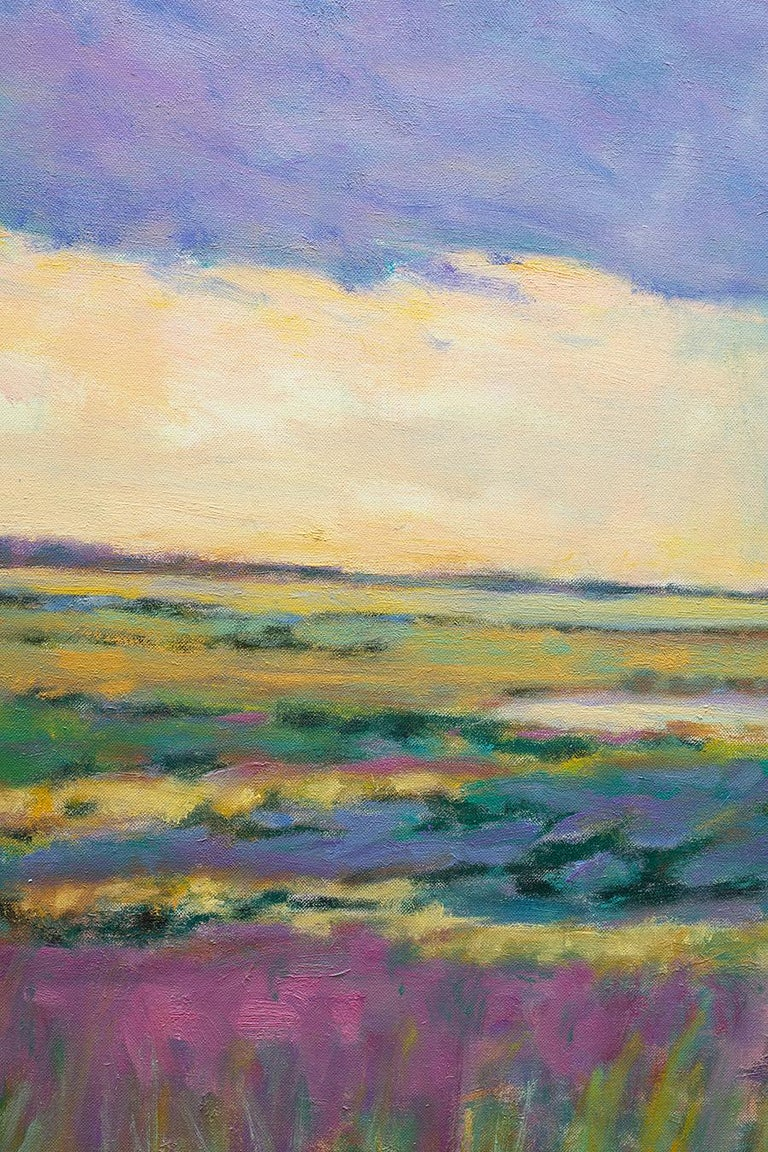 Summer by the Shore - Transitional Landscape Oil Painting, Wolf Kahn influence For Sale 2