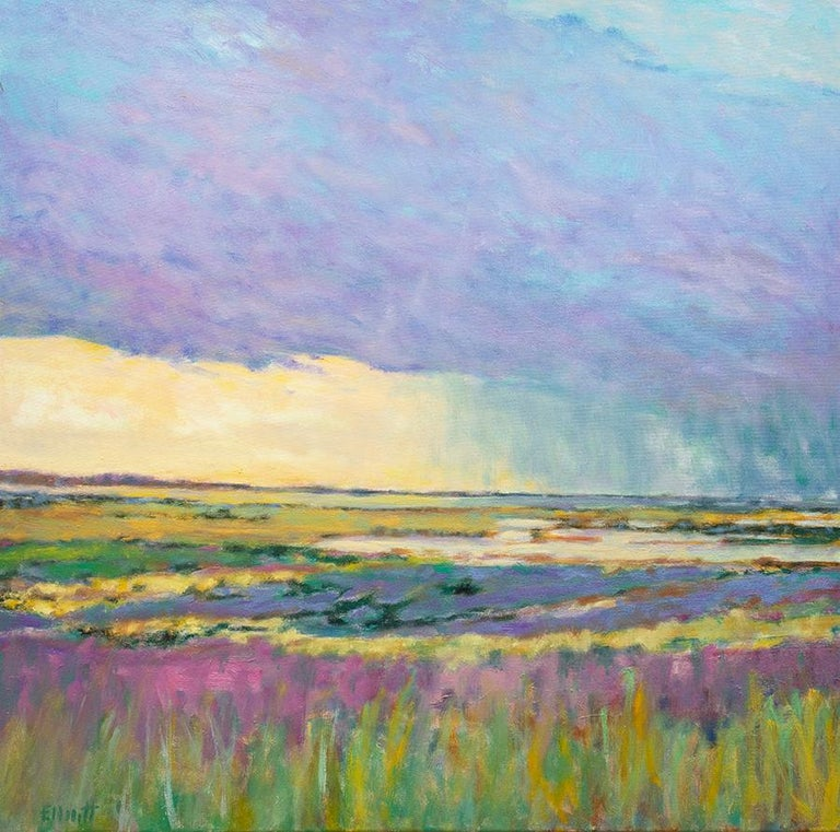Ken Elliott Abstract Painting - Summer by the Shore - Transitional Landscape Oil Painting, Wolf Kahn influence