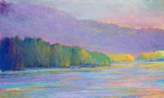 'Water and Sky In Flow', Large Transitional Colorful Landscape Oil Painting