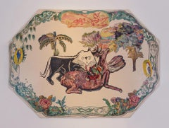 Green Plate (Lion and Deer-prayer for peace of mind)