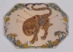 Green Plate (tiger as St. Sebastian)