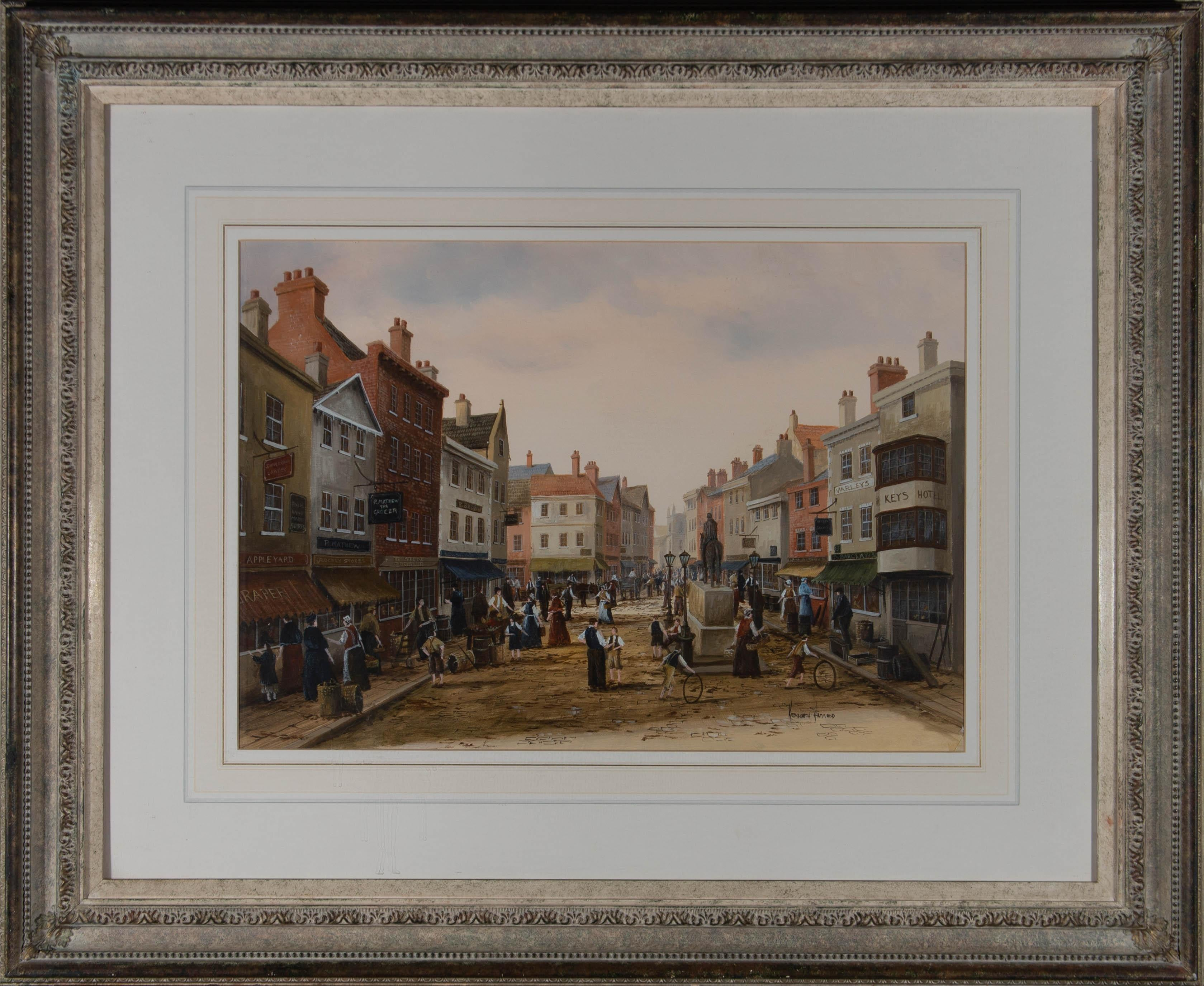 Ken Hammond - Contemporary Oil, Busy Victorian Street