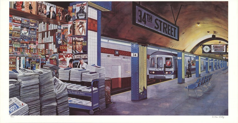 F train at 34th Street, New York  - Print by Ken Keeley