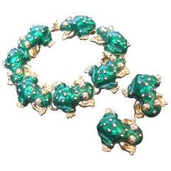 Ken Lane Green Enamel Frog Link Bracelet & Clip-On Earrings Set c 1990s
