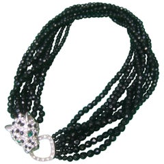 Ken Lane Jet Glass Beaded Jeweled Panther Clasp Choker Style Necklace c 1980
