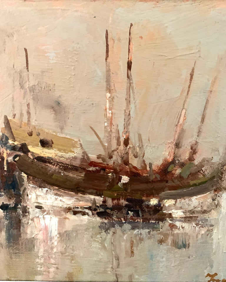 20th Century Oil painting, a View of Chinese Junks at sea. - Painting by Ken Moroney