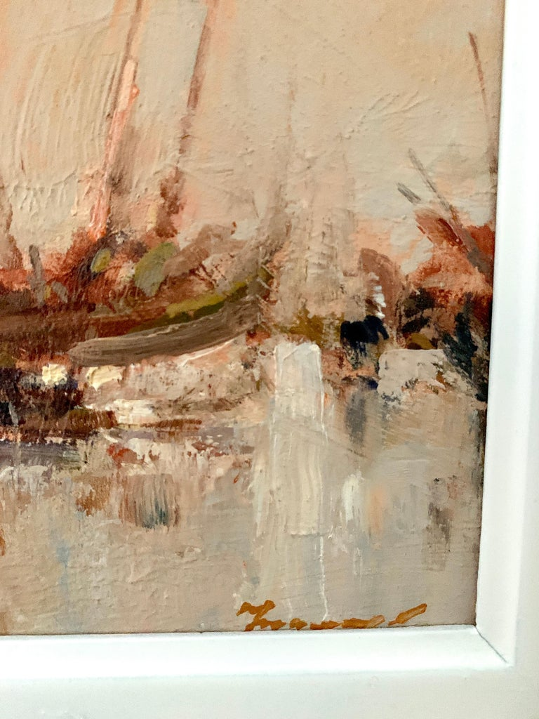 20th Century Oil painting, a View of Chinese Junks at sea. - Impressionist Painting by Ken Moroney