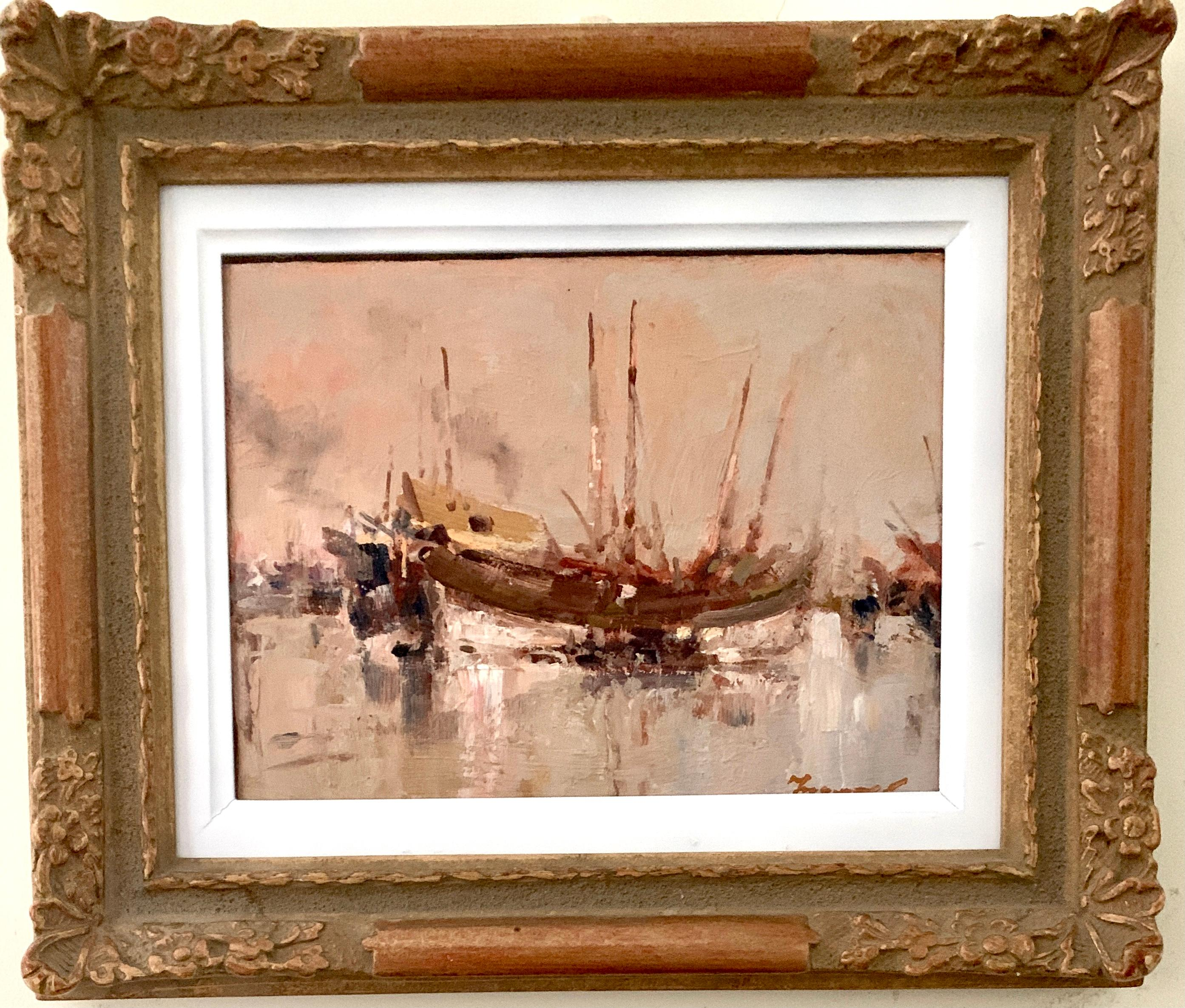20th Century Oil painting, a View of Chinese Junks at sea.