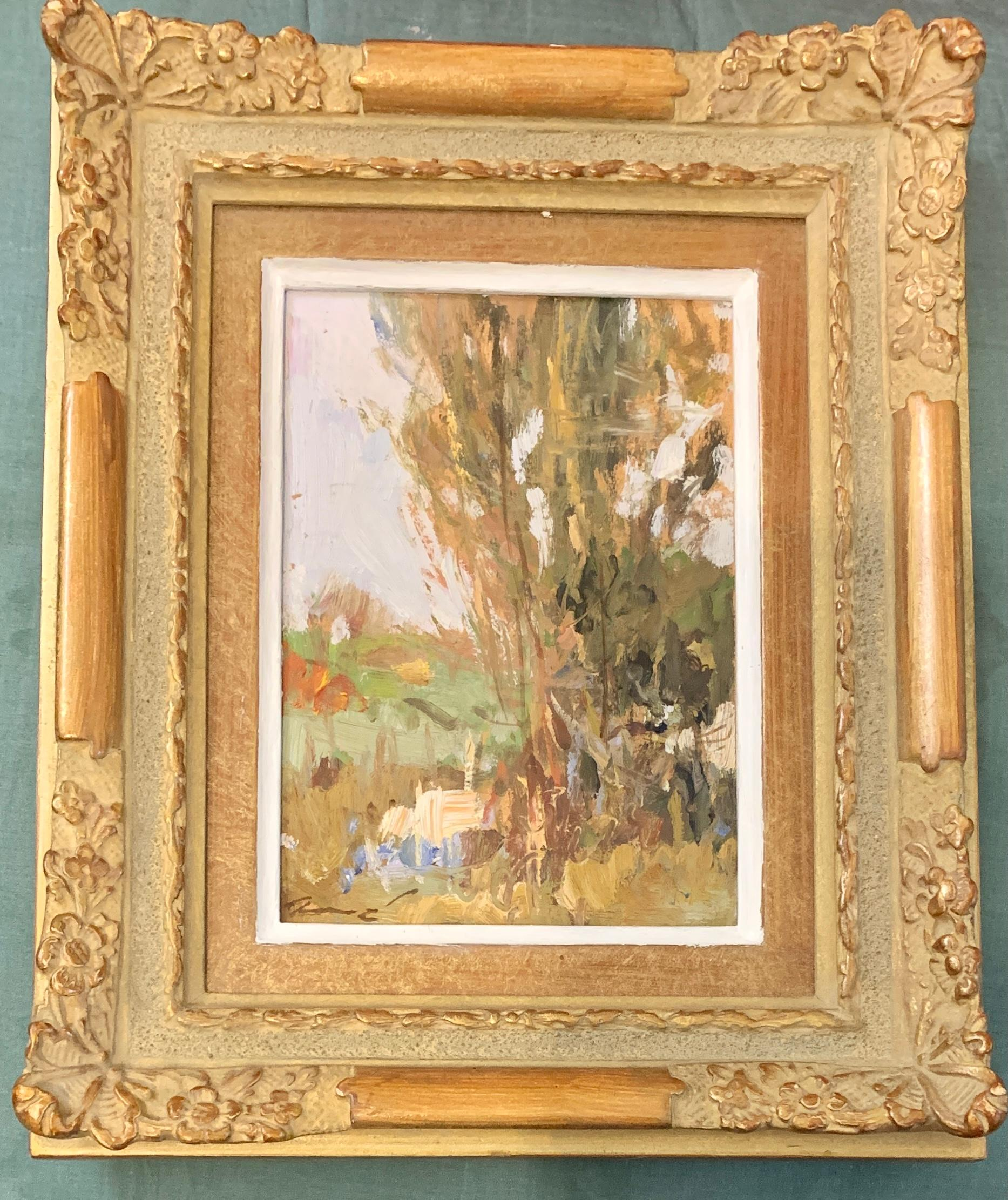 20th Century Oil painting of an Impressionist River Landscape of Cahors, France