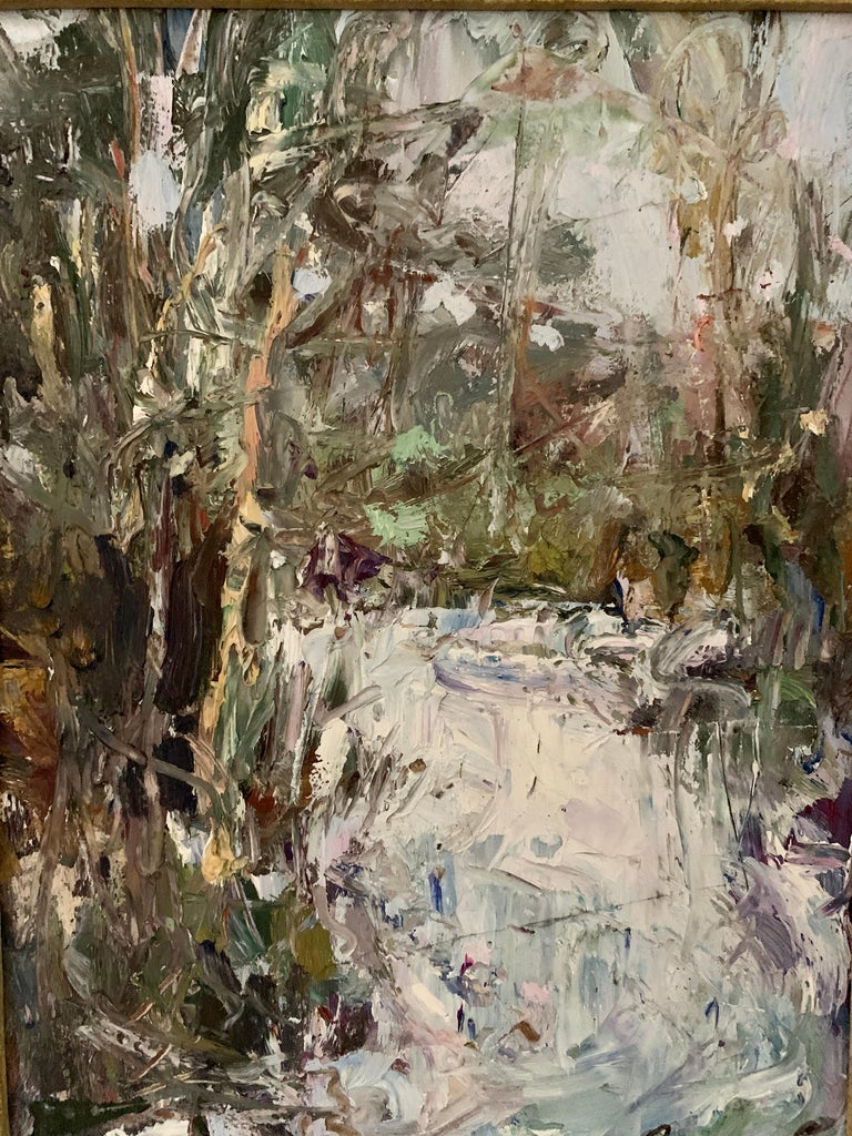 20th Century Oil painting of an Impressionist Waterfall Landscape, Cahors France - Painting by Ken Moroney