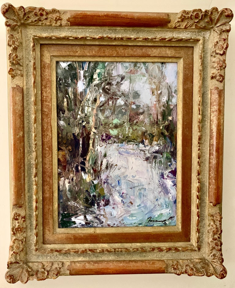 Ken Moroney Figurative Painting - 20th Century Oil painting of an Impressionist Waterfall Landscape, Cahors France